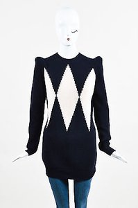 Stella McCartney Navy Cream Wool Knit Diamond Intarsia Sweater