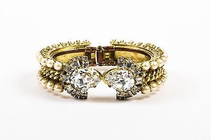 Rodrigo Otazu Gold Tone Metal Clear Crystal Faux Pearl Chain Bangle Bracelet