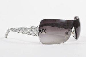 Chanel Chanel Gray Silver Quilted Leather Cc Rimless Shield 4157 Q Sunglasses