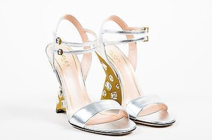 Gucci Gold Tone Silver Sandals