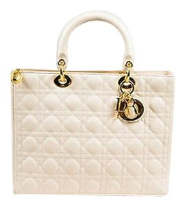 Dior Christian Cannage Tote in Cream