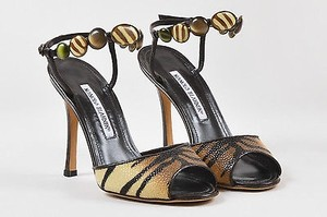 Manolo Blahnik Tan Brown Multi-Color Sandals