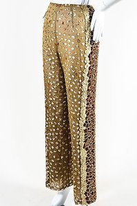 Oscar de la Renta Gold Tone Sequin Beaded Wide Leg Sheer Pants