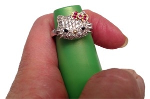 Sanrio Hello Kitty ring, 925 and cz, Size 6