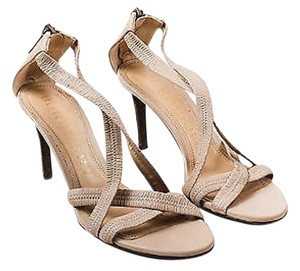 Burberry Leather Ruched Beige Sandals