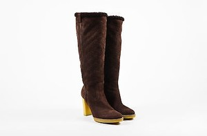 Gucci Shearling Tall Heeled Brown Boots