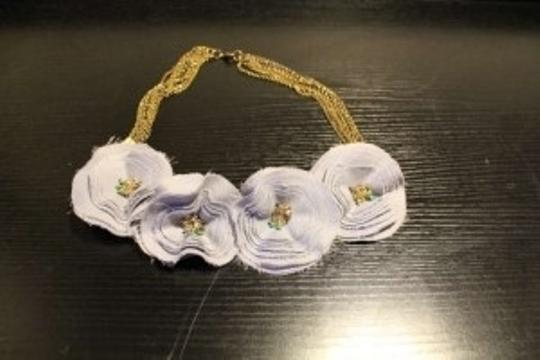Anthropologie Cloth Flower Necklace
