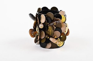 Sportmax Sportmax Black Taupe Gold Tone Leather Beaded Sequin Chunky Cuff Bracelet