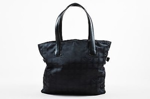 Chanel Nylon Leather Trim Quilted Logo Patterned Tote in Black