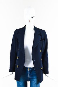 Chanel Chanel Boutique 13c Navy Gold Tone Wool Silk Cc Button Blazer