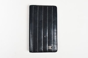 Chanel Chanel Black Leather Contrast Topstitch Cc Mademoiselle Ligne Wallet