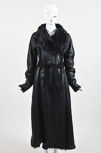 Calvin Klein Collection Leather Fur Shearling Belted Full Length Coat