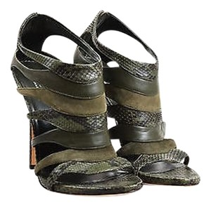 Gucci Olive Snake Skin Suede Leather Cut Out Cage Heeled Soraya Green Sandals