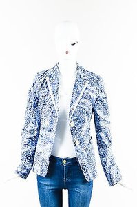 Etro Etro Blue White Paisley Print Notch Lapel Long Sleeve Blazer