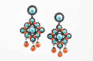 Other Lawrence Vrba Turquoise Coral Beaded Crystal Accent Chandelier Clip On Earrings