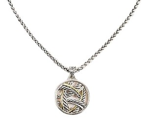 David Yurman David Yurman Sterling Silver 18k Yellow Gold Cable Pendant Necklace