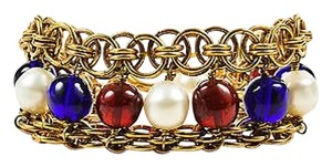 Chanel Vintage Chanel Gold Tone Blue Red Faux Pearl Beaded Layered Chain Link Bracelet
