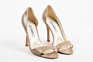 Brian Atwood Leather Taupe Sandals