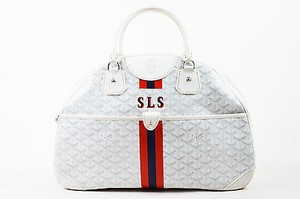 Goyard Blue Red White Coated Canvas Leather Gm Jeanne Tote in Multi-Color