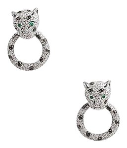 EFFY Effy 14k White Gold Diamond Emerald Panther Doorknocker Earrings