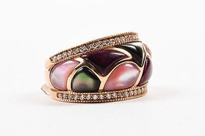 Kabana 14k Rose Gold Pink Mother Of Pearl Diamond Mosaic Ring