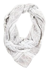 Gucci Gucci Gray White Diamante Print Sheer Knit Scarf
