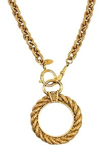 Chanel Vintage Chanel Gold Tone Etched Link Chain Magnifying Glass Pendant Necklace