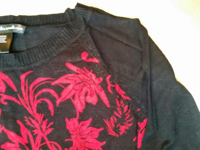 Other Red Abstract Floral Tunic Longsleeve Reglan Sleeve Sweater