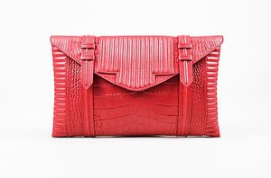Reece Hudson Leather Croc Red Clutch