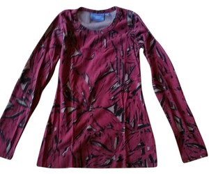 Vera Wang Abstract Black Grey Burgundy T Shirt Multi