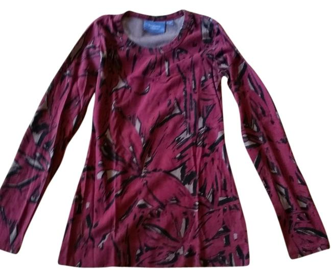Vera Wang Abstract Pattern Longsleeve Tee T Shirt Multi
