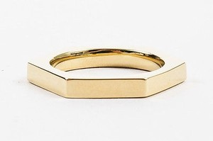 Ash Ames 14k Gold Plated Metal Hexagon Ring