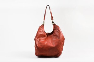 Elizabeth and James Rust Leather Bucket Shoulder Bag