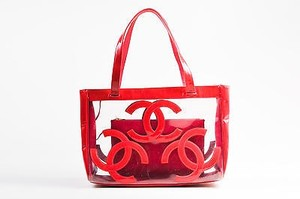 Chanel Dark Pink Patent Tote in Red