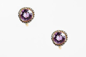 EFFY Effy 14k Yellow Gold 0.52 Ct Brown Diamond Amethyst Earrings