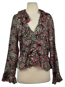 Calypso Womens Floral Top Black