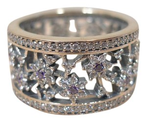 PANDORA $150 AUTHENTIC PANDORA PURPLE FORGET ME NOT WIDE BAND RING SIZE 7.5