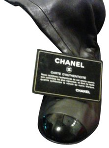 Chanel Thigh High Patent Leather Toe Black Boots
