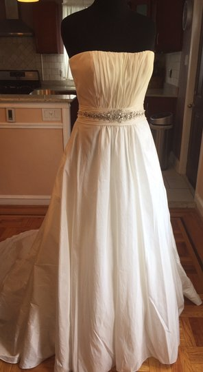 Casablanca Ivory Silk Taffeta 1932 Traditional Wedding Dress Size 14 (L)