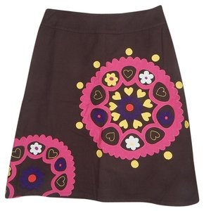 Boden Embroidered Applique A-line Skirt Brown