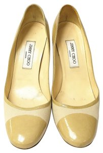 Jimmy Choo Patent Leather Round Toe Nude Pumps