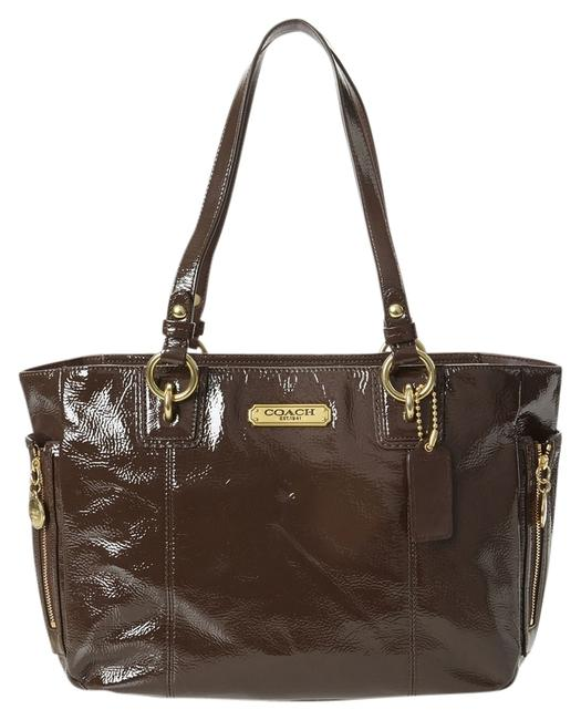 Item - 20431 Gallery Zip Mahogany Brown Patent Leather Tote