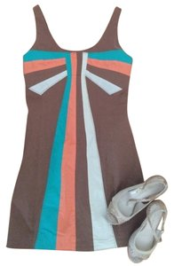 Judith March short dress Turquoise Coral Anthropologie Color Block Fit & Flare on Tradesy