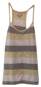 American Eagle Outfitters Top Gray, yellow, white stripes