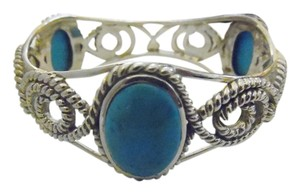 Studio Barse Studio Barse .925 Sterling Silver Large Turquoise Bangle Bracelet Fits 6 3/4