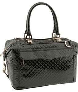 Rebecca Minkoff Patent Leather Quilted Satchel in Black