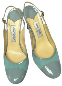 Jimmy Choo Turquoise Patent Leather Sling Back Round Toe Sky Blue Pumps