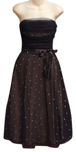 BCBGMAXAZRIA Draped Tulle A-line Polka Dot Dress