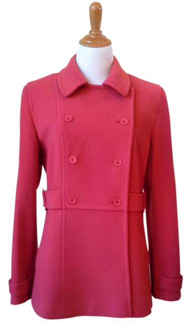 Item - Salmon Red Double Breasted Wool and Cashmere Coat Size 10 (M)