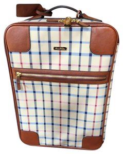 Brooks Brothers Tan Check with Leather Trim Travel Bag